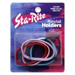 Metal-Free Ponytail Holders with Flat Sides - Assorted Colors
