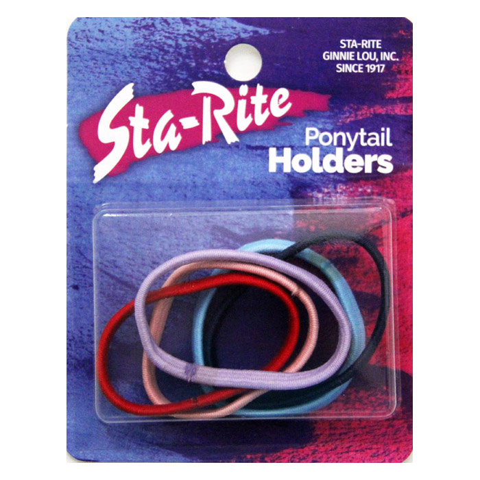Metal-Free Ponytail Holders with Flat Sides – Assorted Colors
